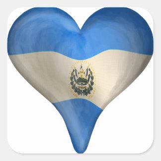 Salvadoran Flag In A Heart Square Sticker