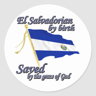 Salvadoreño por el nacimiento ahorrado por la pegatina redonda