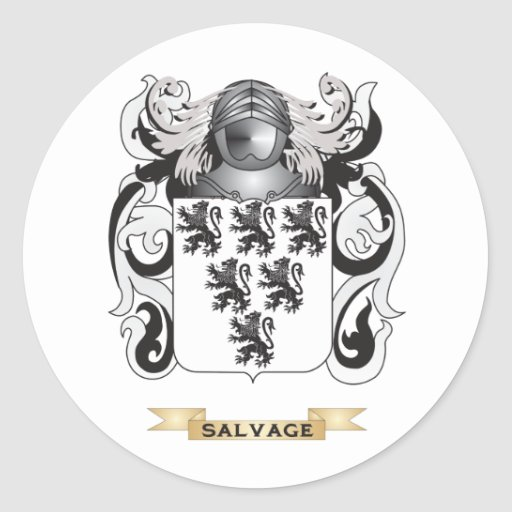 Salvage Coat of Arms (Family Crest) Round Stickers