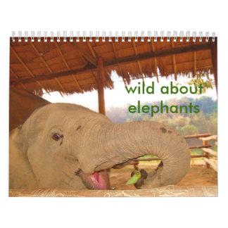 salvaje sobre calendario de los elefantes