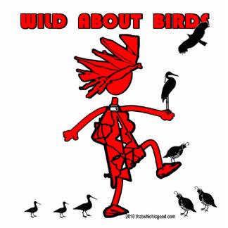 Salvaje sobre diseño rojo de los pájaros adorno fotoescultura