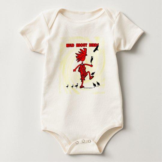 Salvaje sobre diseño rojo de los pájaros body para bebé