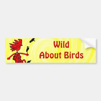 Salvaje sobre diseño rojo de los pájaros pegatina de parachoque