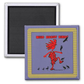 Salvaje sobre diseño rojo de los pájaros imán cuadrado