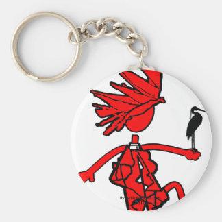 Salvaje sobre diseño rojo de los pájaros llavero redondo tipo pin