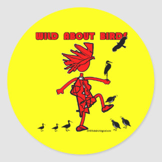 Salvaje sobre diseño rojo de los pájaros pegatina redonda