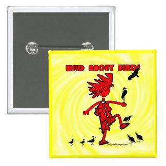 Salvaje sobre diseño rojo de los pájaros pin