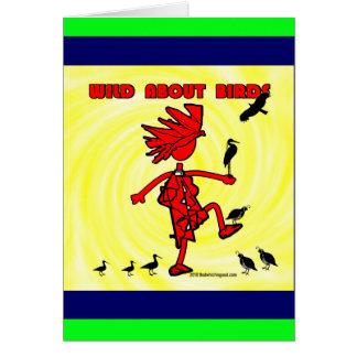 Salvaje sobre diseño rojo de los pájaros tarjeta de felicitación