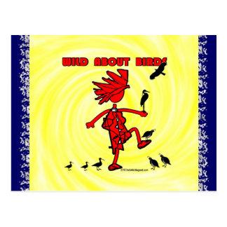 Salvaje sobre diseño rojo de los pájaros tarjeta postal