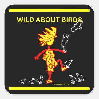 Salvaje sobre diseños de los pájaros pegatina cuadrada