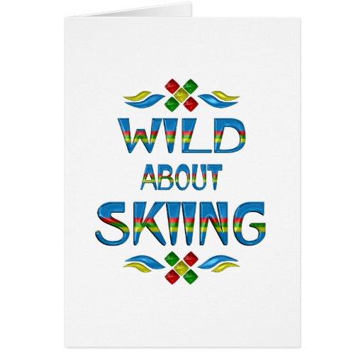 Salvaje sobre el esquí tarjeta de felicitación