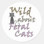 Salvaje sobre los gatos salvajes - gato salvaje etiquetas redondas