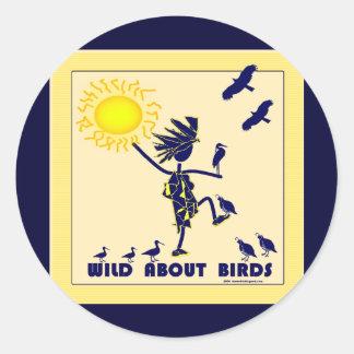 Salvaje sobre los pájaros - observación de pájaros pegatina redonda