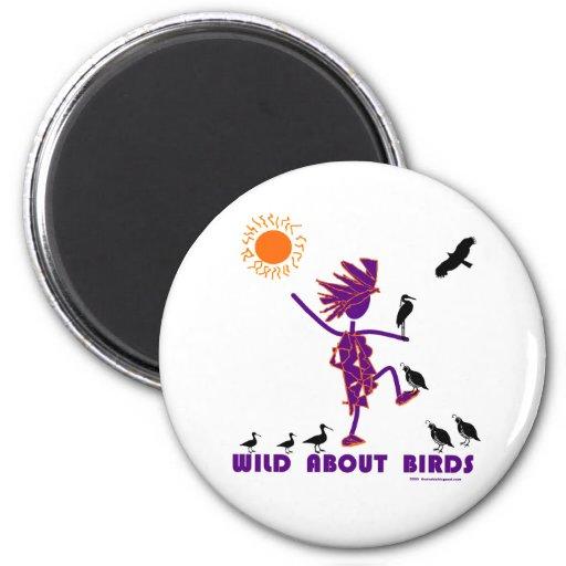 Salvaje sobre pájaros imán redondo 5 cm