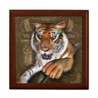 Salvaje sobre tigres joyero cuadrado grande