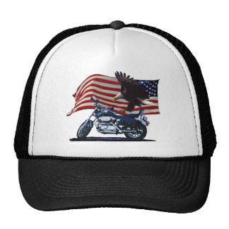 Salvaje y libere - Eagle patriótico, la moto y la  Gorros Bordados