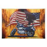 Salvaje y libere - Eagle patriótico, la moto y la  Manteles Individuales