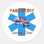 Salvares vidas del paramédico pegatinas redondas