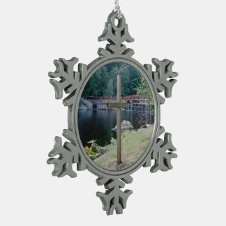 Salvation Cross Snowflake Pewter Christmas Ornament