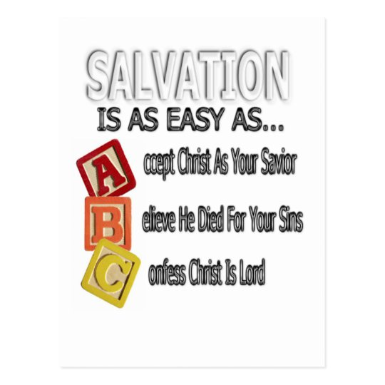 Salvation Is Easy As ABC Postcard