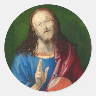 Salvator Mundi by Albrecht Durer Classic Round Sticker