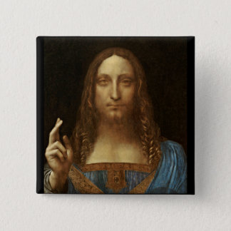 Salvator Mundi Christ with World in His Hand Button