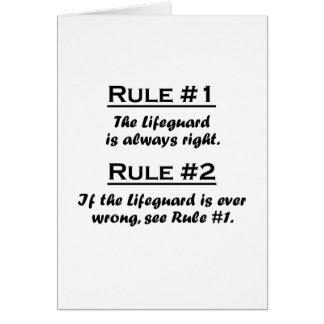 Salvavidas de la regla tarjeta pequeña