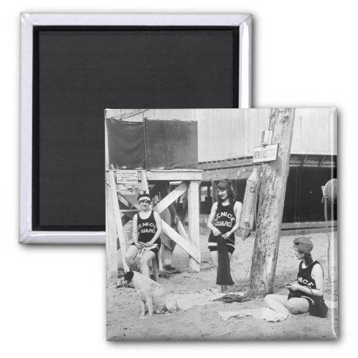 Salvavidas de Venecia que hacen punto, 1900s tempr Imán De Nevera