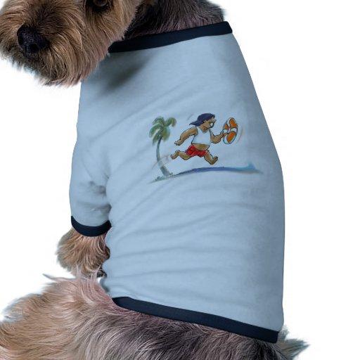 salvavidas hawaiano camiseta con mangas para perro