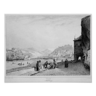 Salzburg, engraved by Bayot & Cuvilier, 1840 Poster