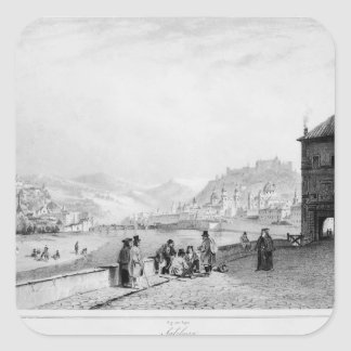 Salzburg, engraved by Bayot & Cuvilier, 1840 Square Sticker