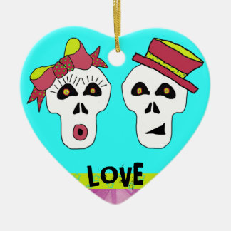 Sam and Sally Skull ornament