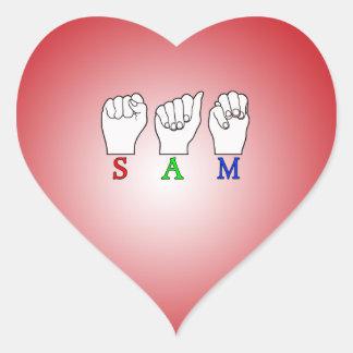 SAM ASL NAME FINGERSPELLED SIGN HEART STICKER