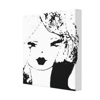 Sam Close Up Black on White Wrapped Canvas Pop Art