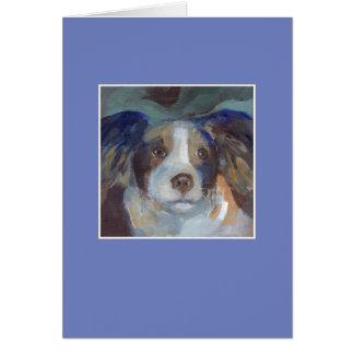 Sam el perro - marco azul tarjeta de felicitación