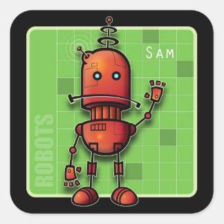 Sam el robot pegatina cuadrada
