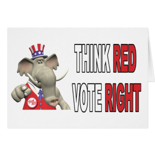 Sam Elephant Think Red Vote Right Card