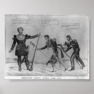 Sam Houston, Santa Ana, y Lechuga romana, 1836 Posters