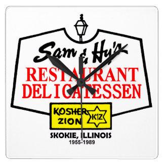 Sam & Hy's Delicatessen, Skokie, IL. (1955-1989) Square Wall Clock