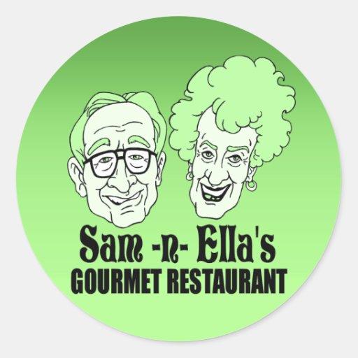 Sam - restaurante de la n Ella Etiqueta Redonda