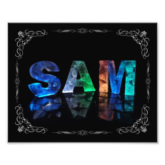 Sam  - The Name Sam in 3D Lights (Photograph) Photo Print