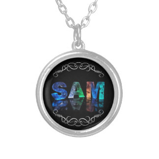 Sam  - The Name Sam in 3D Lights (Photograph) Round Pendant Necklace