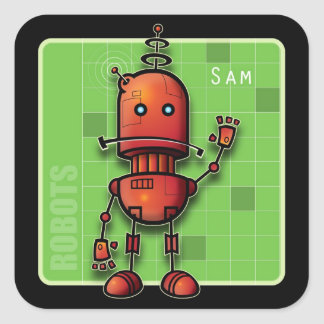 Sam the Robot Square Sticker