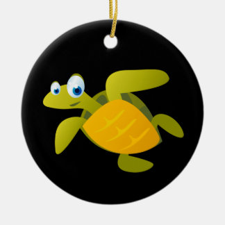 Sam The Sea Turtle Double-Sided Ceramic Round Christmas Ornament