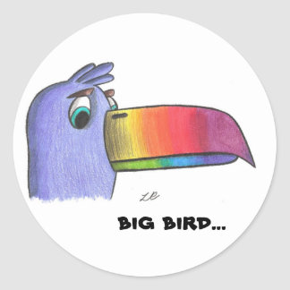 Sam toucan, pájaro grande… pegatina redonda