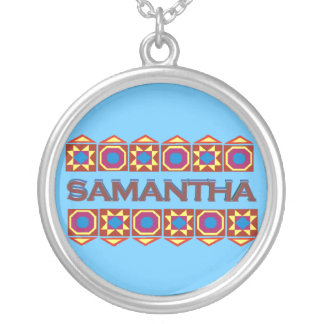 Samantha Abstract art southwestern over light blue Round Pendant Necklace