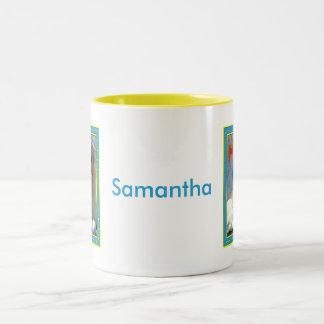Samantha - Golden Retriever -1 Two-Tone Coffee Mug