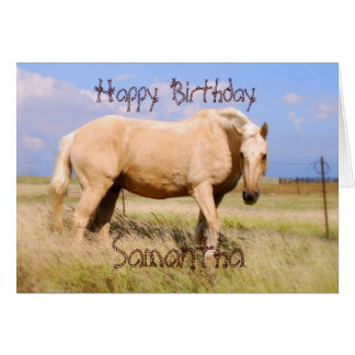 Samantha Happy Birthday Palomino Horse Card