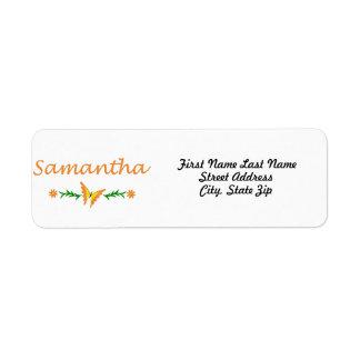 Samantha mariposa anaranjada etiqueta de remite