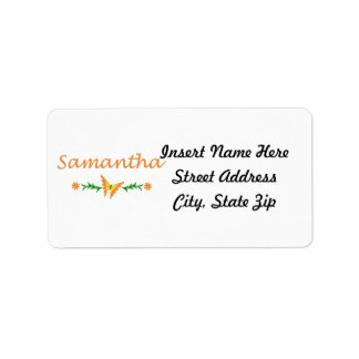 Samantha mariposa anaranjada etiqueta de dirección